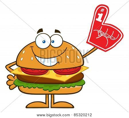Smiling Hamburger Cartoon Character Showing A Number 1 Foam Finger