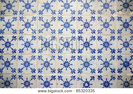 Background created by a tiled wall, Lisbon, Portugal.
