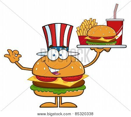 American Hamburger Cartoon Character Holding A Platter With Burger, French Fries And A Soda