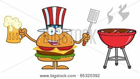 American Hamburger Cartoon Character Holding A Beer And Bbq Slotted Spatula By A Grill