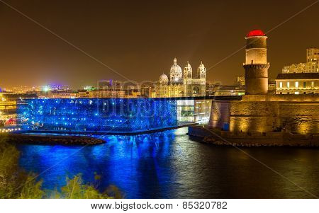 Night View Of Fort Saint-jean And Cathedral In Marseille, France