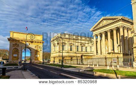 Porte Du Peyrou And Palais De Justice In Montpellier - France