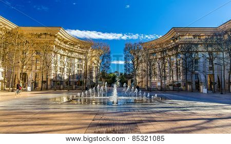 Fountain In Antigone District Of Montpellier - France