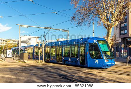 Montpellier, France - January 05: Alstom Citadis 401 Tram On January 5, 2014 In Montpellier, France.