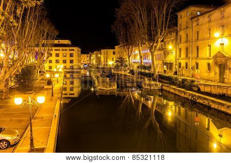 Night View Of Canal De La Robine In Narbonne, France