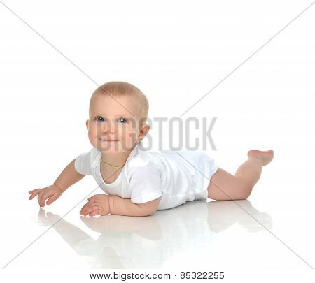 New Born 8 Month Infant Child Baby Boy Lying Happy Smiling