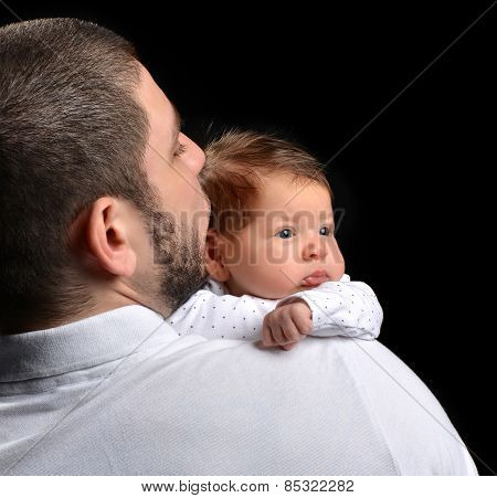 Happy Family Young Father And New Born Infant Child Baby Girl Kissing
