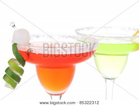Two Margaritas Cocktail With Mint And Lime Spiral In Chilled Salt Rimmed Glass