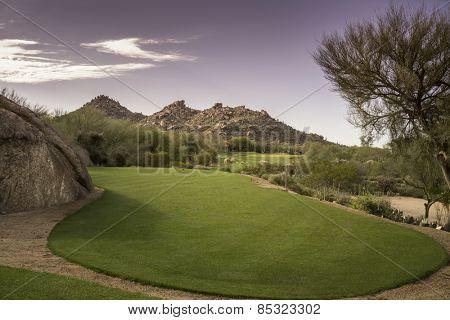 Golf course landscape desert mountain scenic view