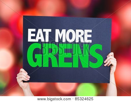 Eat more Greens card with colorful background with defocused lights