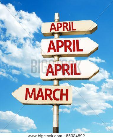 April road sign in a conceptual image