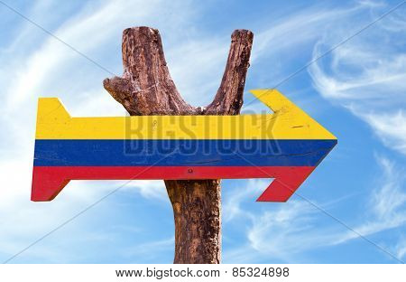 Colombia sign with sky background