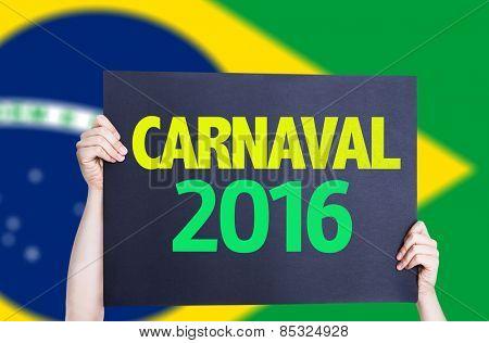Carnaval 2016 card with Brazil flag