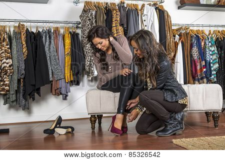 A female consumer shopping in an indoor store
