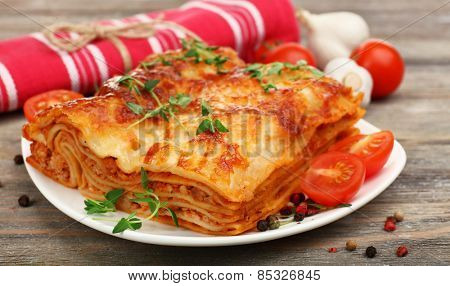 Portion of tasty lasagna, close-up