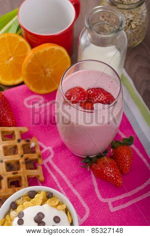 Strawberry Smoothie And Corn Flakes