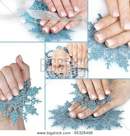 Hands with beautiful winter design isolated on white in collage