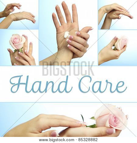 Hands with french manicure in collage