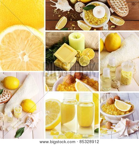 Lemon spa compositions in collage