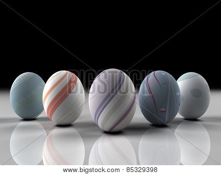 Easter Colorful Eggs On Gray Background