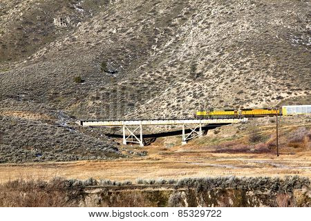 Freight train crosses a bridge