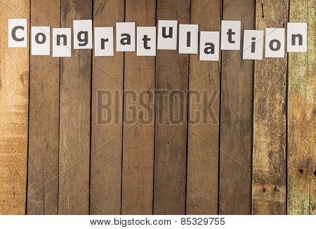 Word Congratulation On Wood