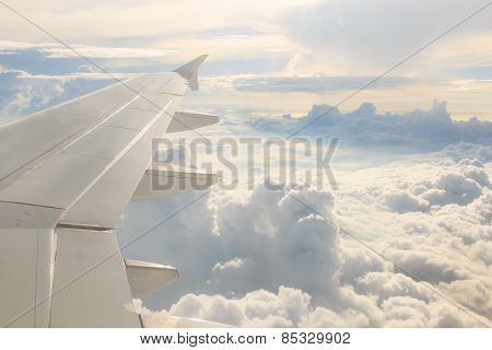 Looking Through The Window Aircraft During The Flight