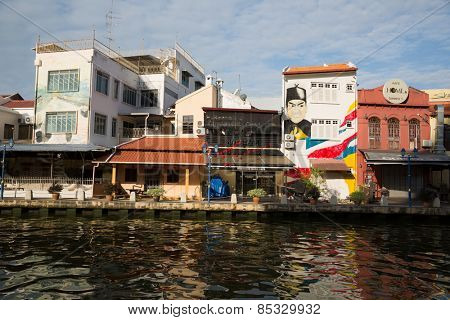MALACCA; MALAYSIA - JANUARY 29; 2015: On the waterfront Malacca River located hotels; restaurants and cafes. Malacca has been listed as a UNESCO World Heritage Site 2008.