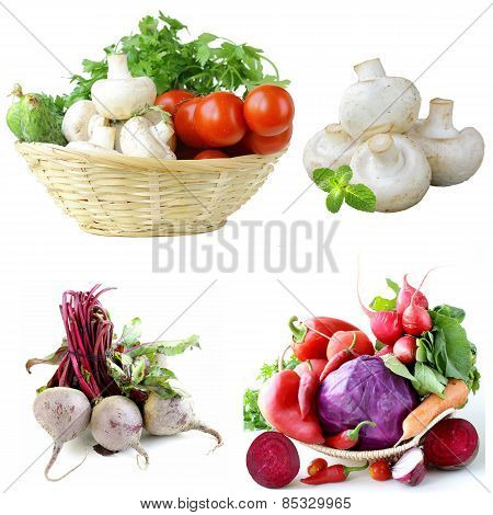 Set vegetables  herbs, mushrooms and beetroot on white background
