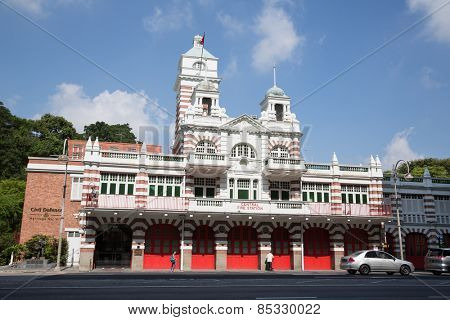 SINGAPORE - JANUARY 28, 2015: The Central Fire Station in Singapore is the oldest existing fire station in Singapore. The station It was built in 1908, was gazetted as a national monument on 1998.