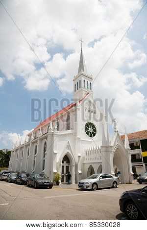 SINGAPORE - JANUARY 28, 2015: The Church of Our Lady of Lourdes is a Catholic church in Singapore, active church. The Church of Our Lady of Lourdes was blessed and officially opened in 1888.