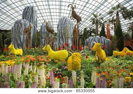 SINGAPORE - JANUARY 27, 2015: The conservatory Flower Dome is located on the territory Park Gardens by the Bay. Park is intended to become Singapore's premier urban outdoor recreation space.