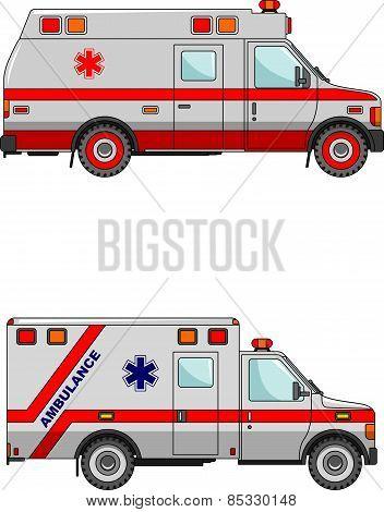 Ambulance cars isolated on white background in flat style