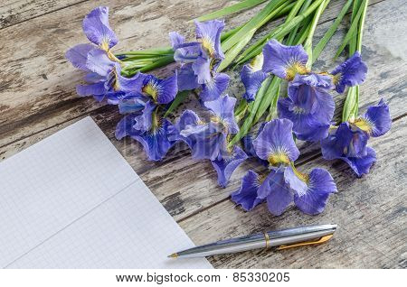 Bouquet Blueflag Or Iris Flower On Wooden Background