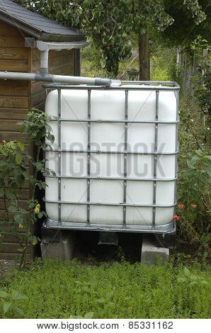 France, Rainwater Tank In A Garden In Les Mureaux