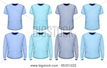 Men's t-shirt short and long sleeve. Shades of blue. Vector illustration.