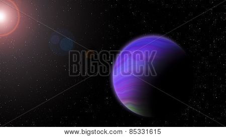 Violet Planet With Rising Sun