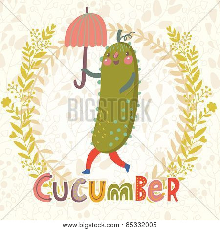 Lovely cucumber in funny cartoon style. Healthy concept card in vector. Stunning tasty background in bright colors