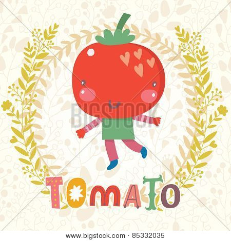 Sweet tomato in funny cartoon style. Healthy concept card in vector. Stunning tasty background in bright colors