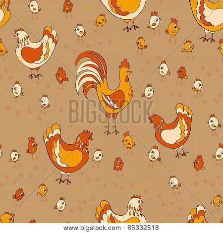hens and chicken seamless pattern