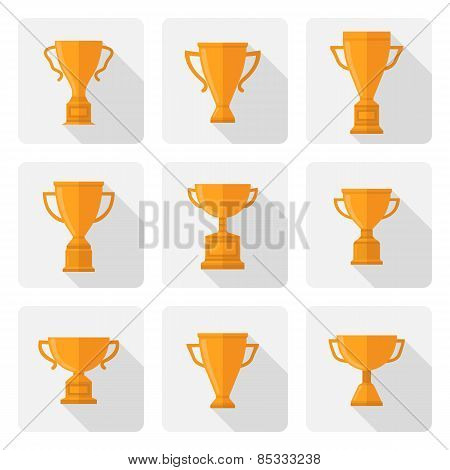 Vector flat trophy cup icons set