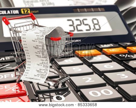 Shopping cart on calculator and receipt. Home budget or consumerism concept. 3d