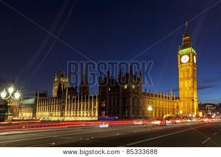 London, England.  Big Ben and Houses of Parliament.
