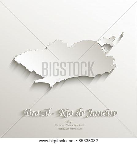 Brazil Rio de Janeiro city map card paper 3D natural vector