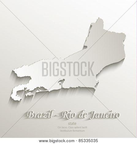 Brazil Rio de Janeiro state map card paper 3D natural vector