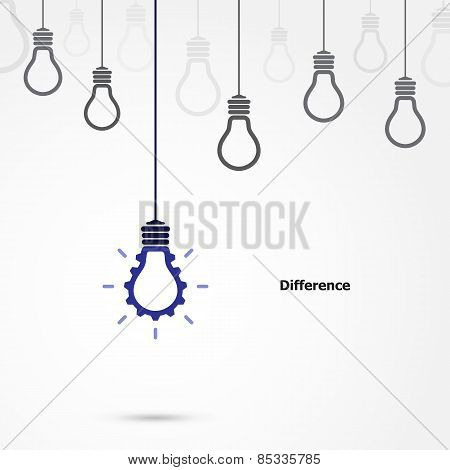 Creative Light Bulb Symbol With Gear Sign And Difference Concept, Business And Industrial  Idea.
