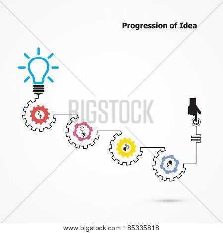 Creative Light Bulb Symbol With Linear Of Gear Shape. Progression Of Idea Concept.