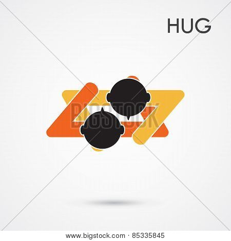 Abstract Hug Symbol. This Graphic Also Represents Couple In Love, Hug And Embrace, Close Friends Tog