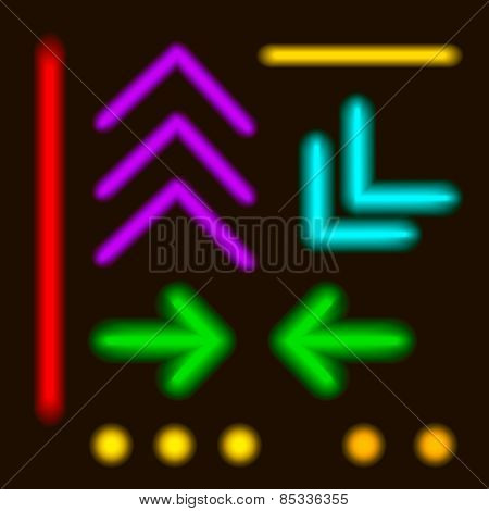 Vector - Laser Neon Colorful Lines and elements