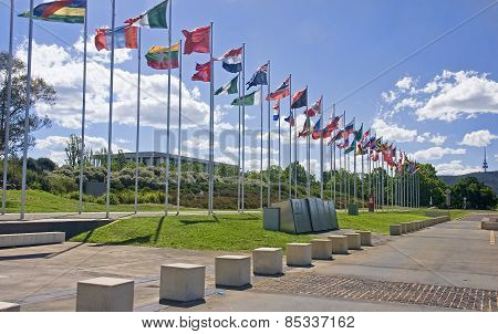 Flags On The Main Pedestrian Walking On The Lake In The Center O